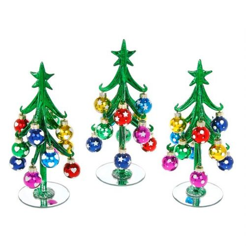 Medium Green Glass Christmas Trees with Multi Coloured Baubles